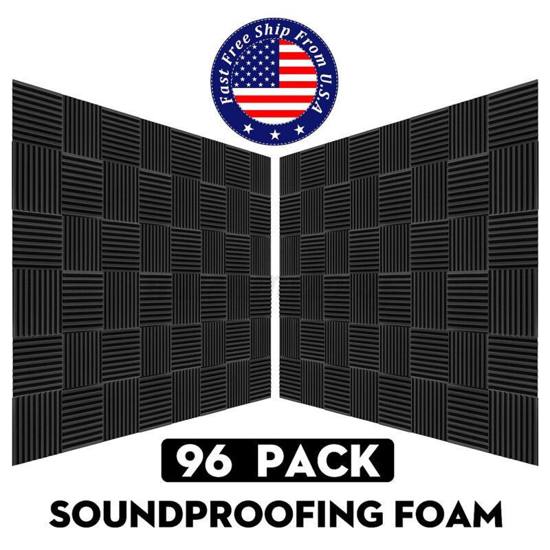 96Pcs Acoustic Foam Wall Panels Studio KTV Home Party Sound Proofing Black Pads
