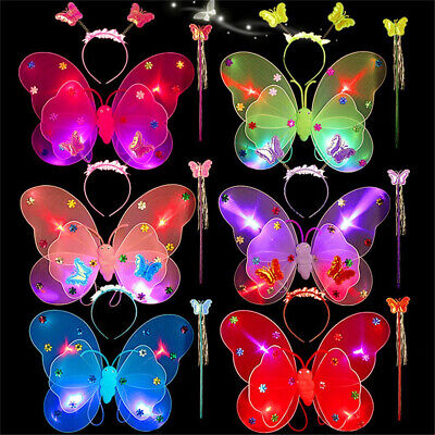 Butterfly Costume For Girls (3pcs/Set Girls LED Light Fairy Butterfly Wing Wand Headband Costume Party)
