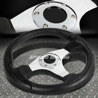 ALUMINUM 330MM RACING STEERING WHEEL JDM CHROME 3-SPOKES STYLE PVC LEATHER GRIP