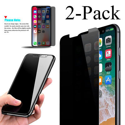 2 Pack Privacy Anti Spy Real Tempered Glass Screen Protector For Apple Iphone X