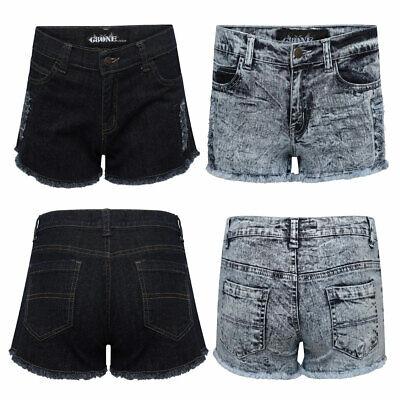 Ausgefranste Saum Kurze (Damen Zerrissen Freizeithose Ausgefranst Saum Zerschlissene Jeans Stretch Größe)