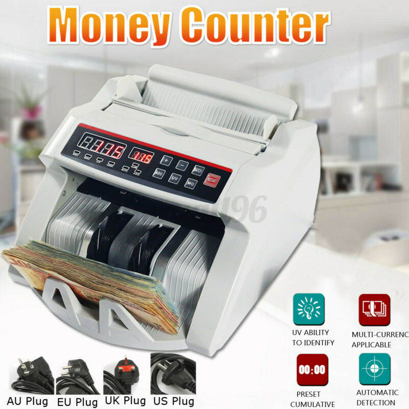 Money Bill Counter Counting Machine Detector UV & MG Cash Bank w/ LCD Dishplay