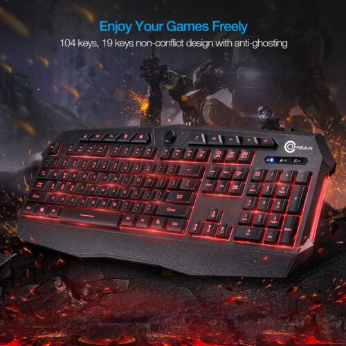 Backlit Gaming Keyboard Adjustable 3 Colors LED Light Gamer USB Wired Keyboard