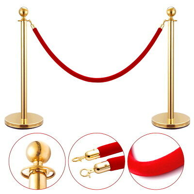 2Pcs Stanchion Post Set Rope Stainless Steel Retractable Queue Barrier Gold