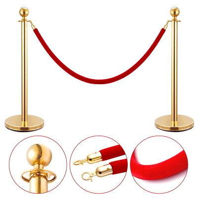 2Pcs Stanchion Set Velvet Rope Stainless Steel Retractable Queue Barrier Gold