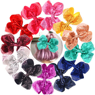12Pc Sparkly Glitter Sequins Big 8 Inch Hair Bows Alligator Hair Clips for Girls