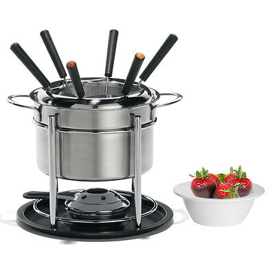 12pc Trudeau Fondue Set Stainless Steel Pot Forks Ceramic Double Boiler Burner