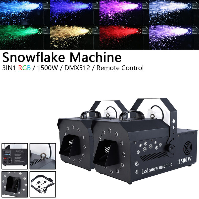 2Pcs 1500W Snowflake Machine 12LED 3in1 RGB Stage Effect Light DMX Snow Maker US