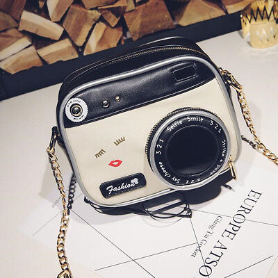 Cute Women Camera Shape Bag PU Leather Purse Handbag Messenger Bag Vintage Tote
