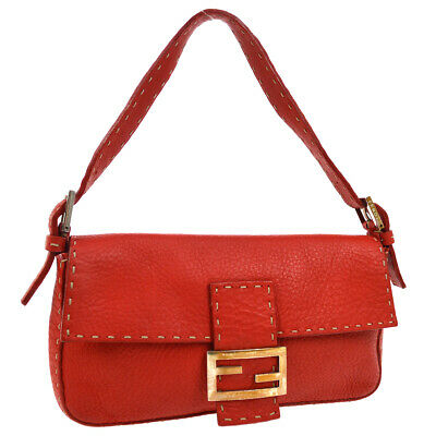 FENDI SELLERIA Mamma Baguette Hand Bag Red Leather Vintage Authentic RK14442