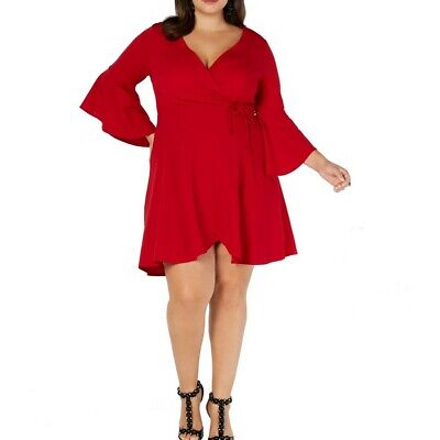 LOVE SQUARED NEW Women's Red Plus Bell Sleeve Faux Wrap Dress 3X TEDO