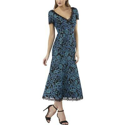 JS Collections Womens Cocktail Embroidered Mesh Midi Dress BHFO 2578