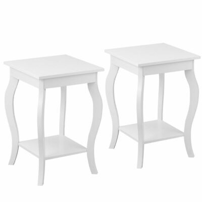 Set of 2 Accent Side Table Sofa End Table Nigh stand Coffee Table w/ Shelf White ()