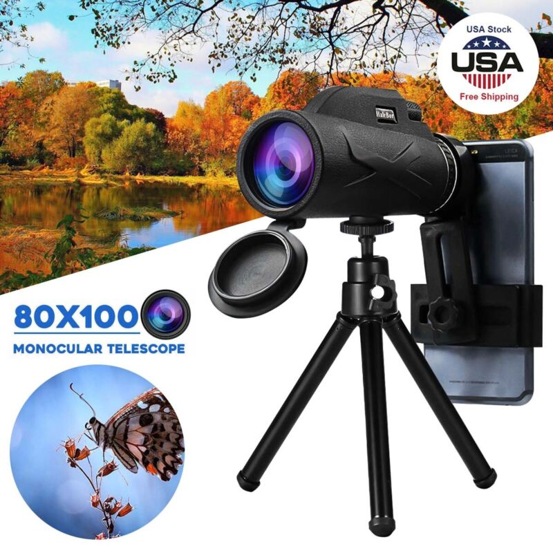 80X100 Portable Prism HD Optical Hiking Monocular Telescope + Phone Clip +Tripod