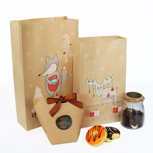 Christmas Kraft Gift Bags Candy Bags Large/Small Xmas Patter