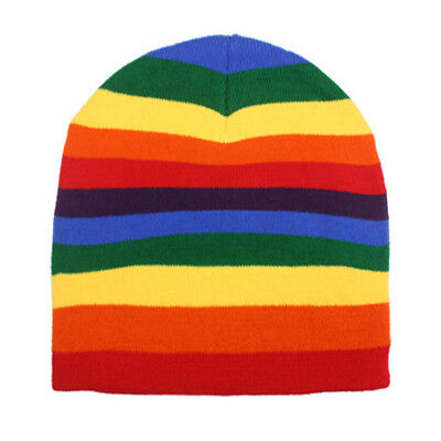 Rainbow Beanie Hat - Colorful Soft Warm Daily Headwear - Rainbow Beanie