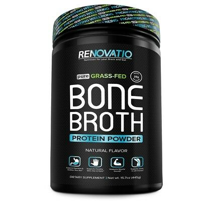 - RENOVATIO NUTRITION Bone Broth Protein and Collagen Powder Natural flavor 15.7oz