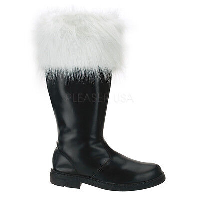 Costume Boots For Men (Mens Black Santa Claus Christmas Costume Boots for Tall Big Guys size 12 13)