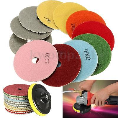 12x Diamond Polishing Pads Wet Dry 4 Inch Set Kit For Granite Concrete Marble