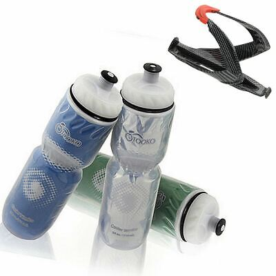 Insulated Water Bottle Bicycle Cycling Water Cup Kettle with Holder Rack Cage](Water Bottle Holder)