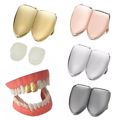 Hip Hop 14K Gold Plated Upper Double Two Tooth Teeth Grill Canine Cap Halloween