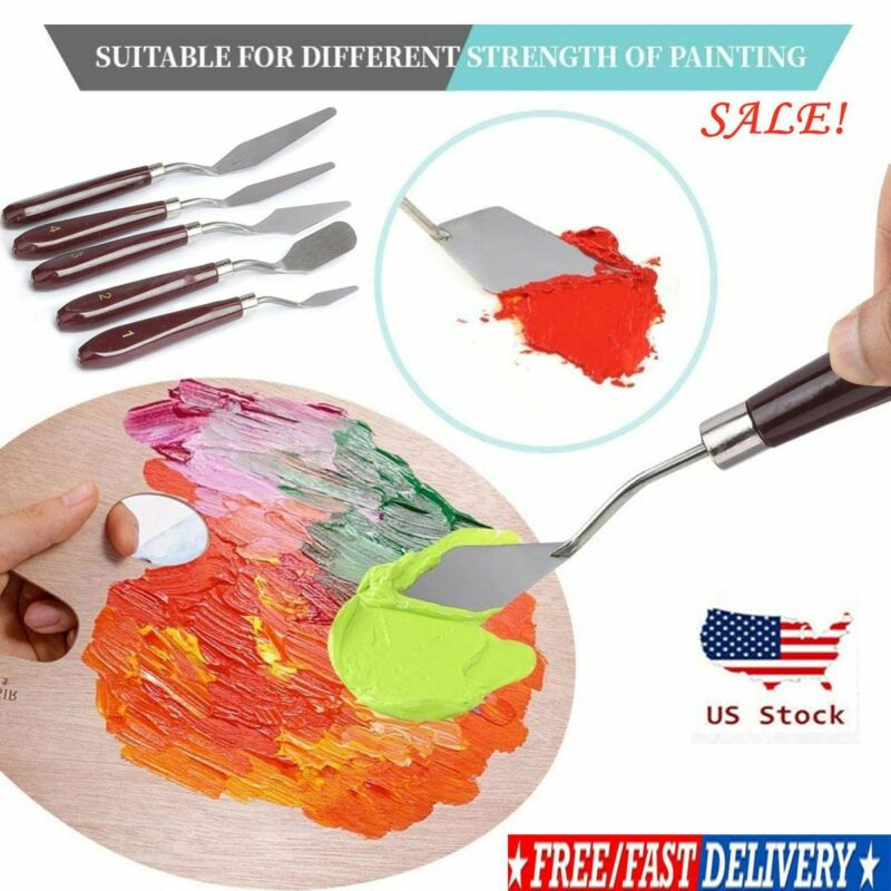5 Set Stainless Painting Knife Palette Knife Scraper Spatula for Artist Oil USA