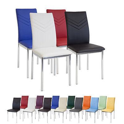 Esszimmerstühle VERONA Chrom - Farbe und Stückzahl wählbar - Stuhl Stühle SET (Esszimmer Stuhl, Moderne)
