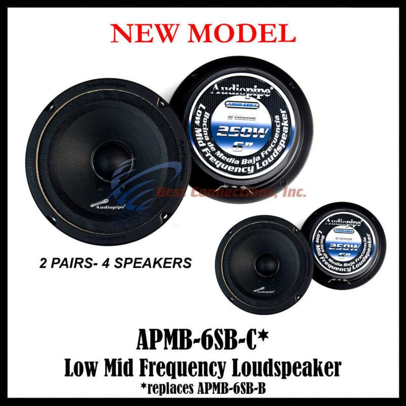 "4 Pack 6-6.5"" Sealed Back Full Range Loud Speaker Mid Audiopipe APMB-6SB-C"