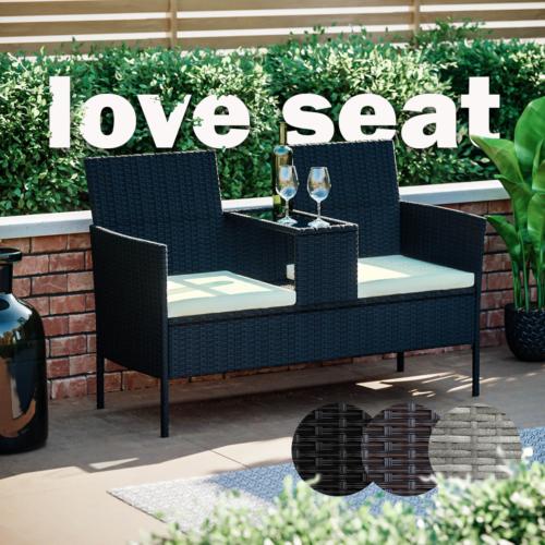 Garden Furniture - Rattan Garden Furniture Bench Companion Love Seat Table Chair Conservatory