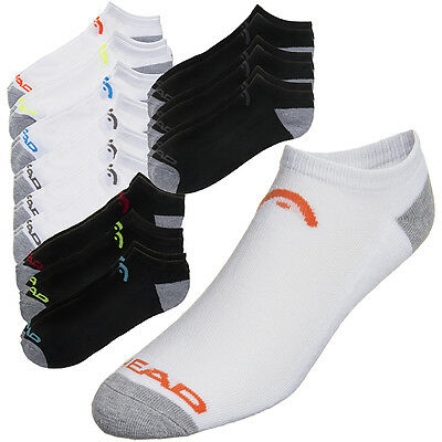 12 Pack Head Swift-Dry Men's No Show Athletic Socks Black White Shoe Size 6-12.5