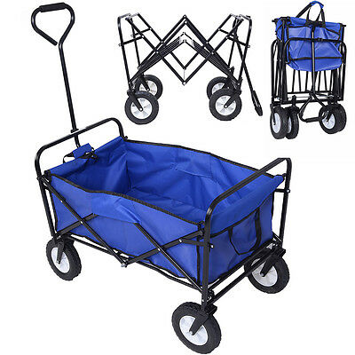 Collapsible Folding Wagon Cart Garden Shopping Beach Toy Sports Blue Frame New