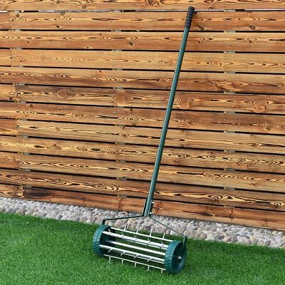 Heavy Duty Rolling Grass Lawn Garden Aerator Steel Spike Roller Aluminium Handle
