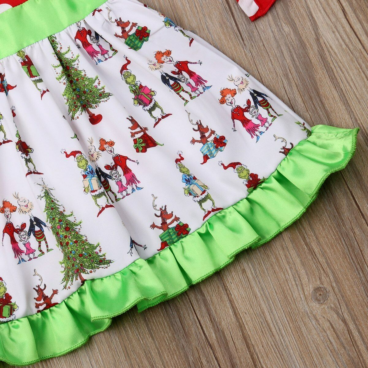 NEW Grinch Stole Christmas Whoville Girls Long Sleeve Dress 2T 3T 4T 5T 6