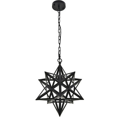 CHANDELIER OPEN BLACK STAR WROUGHT IRON DINING ROOM BEDROOM FIXTURE 1 LIGHT 17""