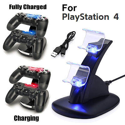 For Ps4 Playstation4 Controller Led Dual Charger Dock Station Usb Charging Stand