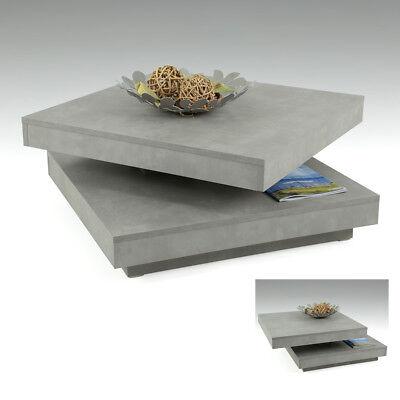Couchtisch Beton Ben Wohnzimmertisch Platte drehbar Beistelltisch ()