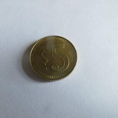 1 x 5 pesos 1985 Mexique