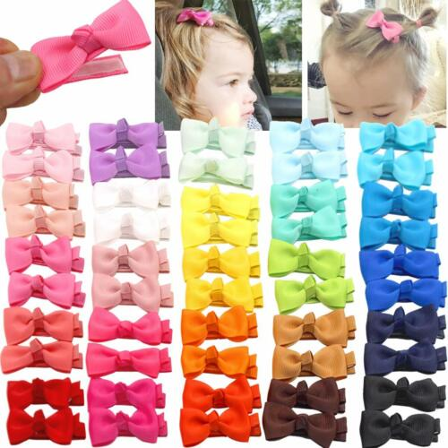 "50 Pcs Fully Lined Hair Pins Tiny 2"" Hair Bows Alligator Clips for Baby Girls"