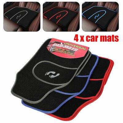 4 PIECE FRONT REAR RED BLUE GREY CAR MAT CARPET NON SLIP UNIVERSAL FLOOR MATS