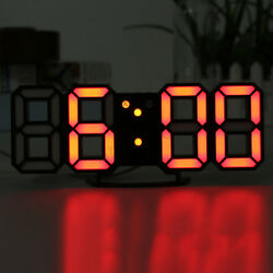 3D Digital LED Table Desk Night Wall Clock Alarm Watch 24 or 12 Hour Display US
