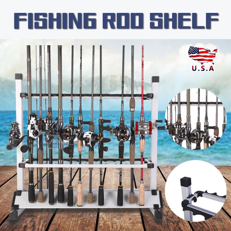 Aluminum Alloy Fishing Rod Vertical Portable Holder 24 Rack Boat Garage Home