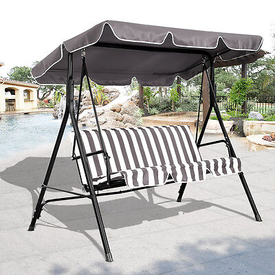 3 Person Swing Outdoor Patio Canopy Awning Yard Furniture Hammock Steel Coffee