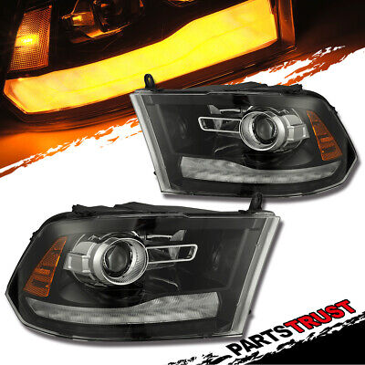 2009-2018 Dodge Ram 1500/2500/3500LED DRL Projector Black Headlights 2016 2017