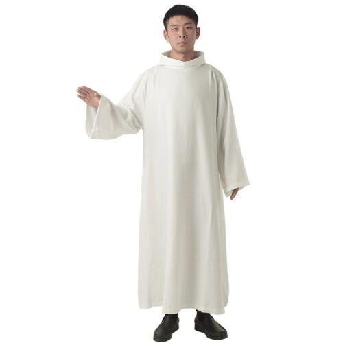 BLESSUME Mass White Alb Catholic Priest Vestments Solid Clergy Robe D001 4 Sizes