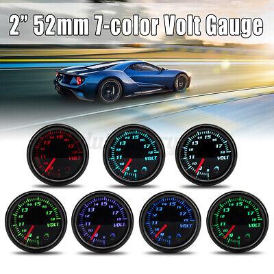 Universal 2'' 52mm Car Volt Voltmeter 8-18V Voltage Gauge Meter 7 Color LED