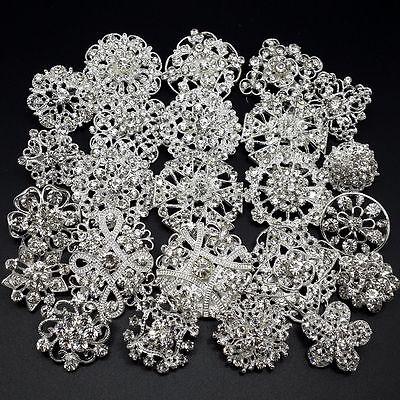 24pc/lot Mixed Silver Rhinestone Crystal Brooches Pin DIY Wedding Bridal Bouquet