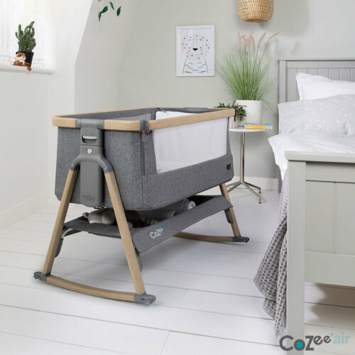Tutti Bambini CoZee Air Bedside Rocking Crib, Oak and Charcoal FREE DELIVERY