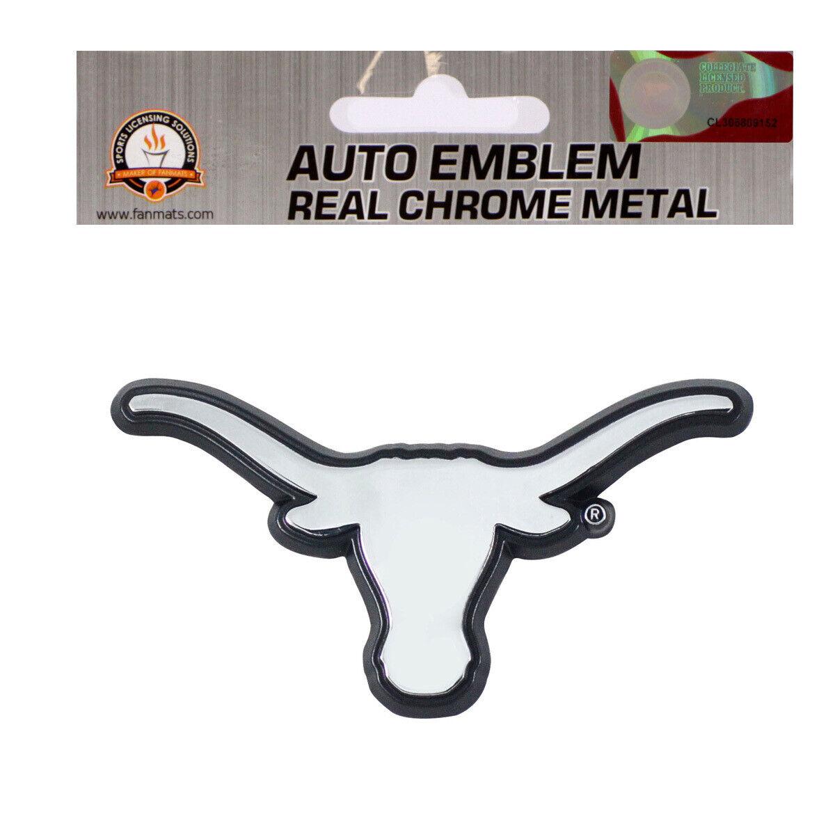 Texas Longhorns Chrome Metal Auto Emblem NCAA Licensed Texas Shape