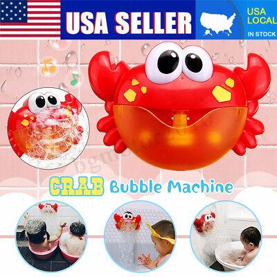Bubble Machine Crab Automatic Bubble Maker Blower Music Bath Toys Fun For Baby