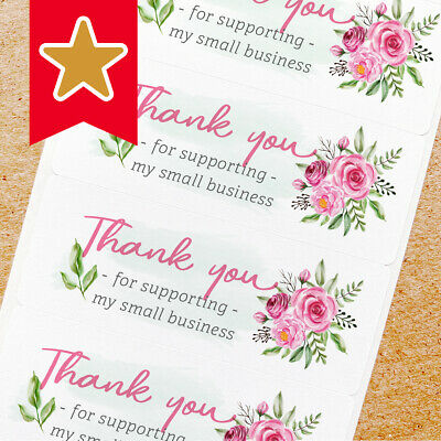 Thank You Labels Stickers For Online Shop Sellers 100ct - Hot Pink Flower